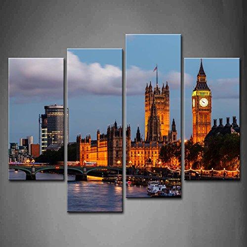 First Wall Art - Big Ben de Londres Cuadros en Lienzo Puente de Westminster y Barco en la Noche Decoracion de Pared 4 Piezas Modernos Skyline de la Ciudad de Reino Unido Mural Fotos para Salon