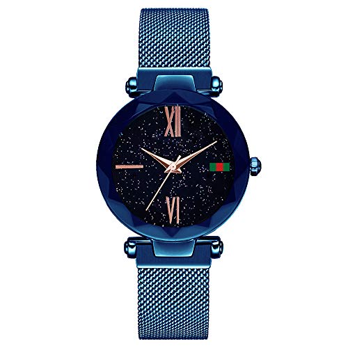 L'ananas-Watches Damen Starry Sky Dial Diamond Cutting Mesh Straps Bracelet Wristwatch z-blue-b einheitsgröße