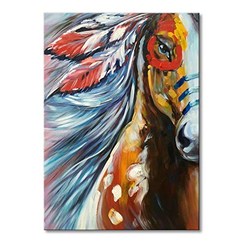 Large Horse Oil Painting Hand Painted Animal Canvas Wall Art Handmade Abstract Modern Artwork 36x48 inch
