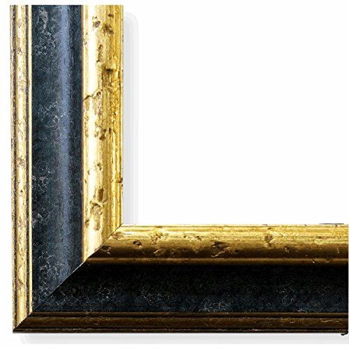 Bilderrahmen Genua Schwarz Gold 4,3 - WRF - 40 x 50 cm - 500 Varianten - alle Größen - handgefertigt - Galerie-Qualität Antik, Barock, Landhaus, Shabby, Modern - Fotorahmen Urkundenrahmen Posterrahmen