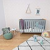 Puckdaddy Babybett Ida – 140x70 cm, Bett aus Holz in Grau, höhenverstellbares Gitterbett mit herausnehmbaren Sproßen, Skandinavisches Design - 4