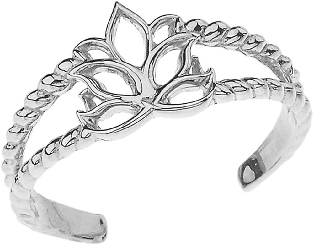 Fine 14k White Gold Lotus Flower Double Rope Toe Ring