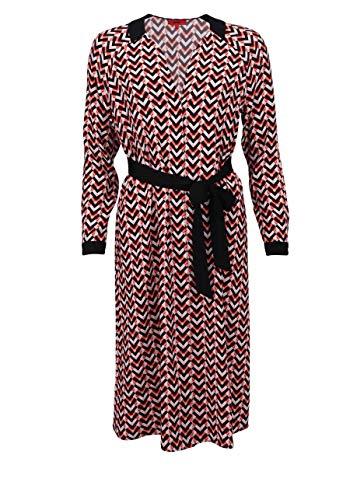 HUGO Langarm Blusenkleid EMANILLI V-Ausschnitt geknöpft Muster rot Größe 36