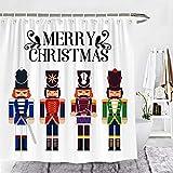 Wencal Merry Christmas Nussknacker-Duschvorhang Weihnachten Urlaub Badezimmer Dekor mit Haken 183 x 183 cm