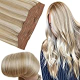 Fshine Real Human Hair Halo Extensions 12 Inch Invisible Wire Soft Hair Color 27 Highlighted 613 Blonde Fish Line Hair 70 Gram Per Set