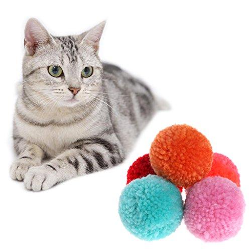 Guoyy - Juego de 5 pelotas de peluche para gatos (varios colores, interactivo, para mascotas)