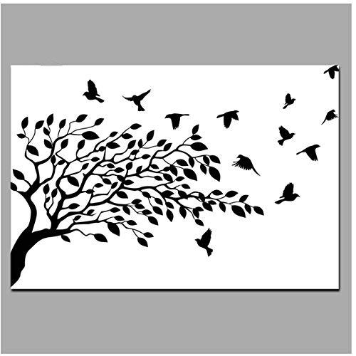 Canvas Schilderijen Wit en Zwart De Levensboom Vogel Op Takken Abstract Muur Foto Decor Op Canvas-50x70cm (19.7