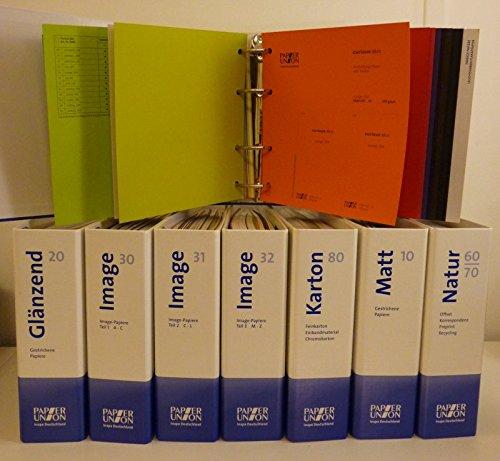 Musterkollektion Papier Union Inapa Deutschland: 1. Farbig 40/50 (Imagekarton-Umschlagkarton-farbige Papiere). 2. Glänzend 20 (Gestrichene Papiere). 3. Image 30 (Image-Papiere-Teil1-A-C). 4. Image 31 (Image-Papiere-Teil 2-C-L). 5. Image 32 (Image-Pa