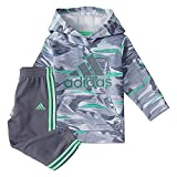 adidas Infant Boys Camo Fleece Pullover Hoodie and Joggers Set, Halo Silver, 12M