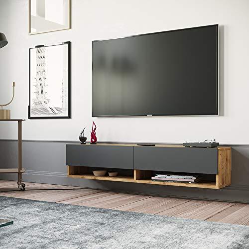 Yurupa TV Board hängend Lowboard Hängeschrank Hängeboard Wohnwand dunkel Anthracite FR11-AA