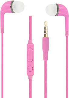 Pink High Quality Audio In-Ear Earphones in Ultra Comfortable Silicone Noise Isolating with Volume Control and Microphone ...