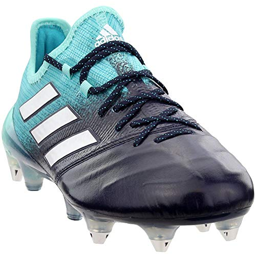 adidas Mens Ace 17.1 Soft Ground Leather Soccer Casual Cleats, Blue;White, 8.5