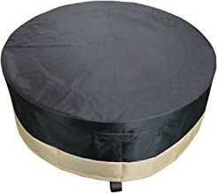 Stanbroil 30 Inch Full Coverage Round Fire Pit Cover with Drawstring and Toggle Closure, Black PVC