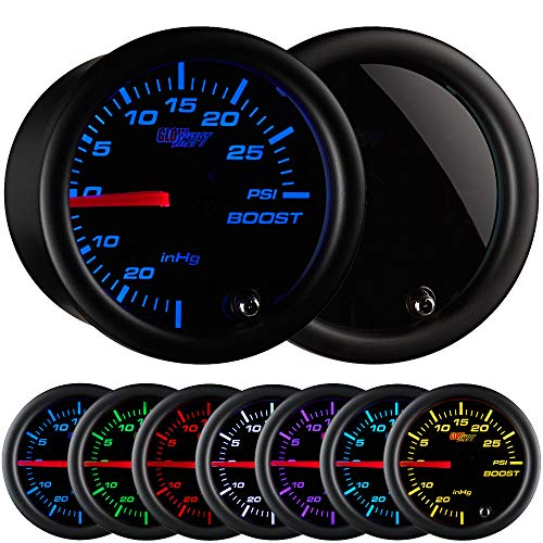 """GlowShift Tinted 7 Color 30 PSI Turbo Boost / Vacuum Gauge Kit - Includes Mechanical Hose & T-Fitting - Black Dial - Smoked Lens - For Car & Truck - 2-1/16"""" 52mm"""
