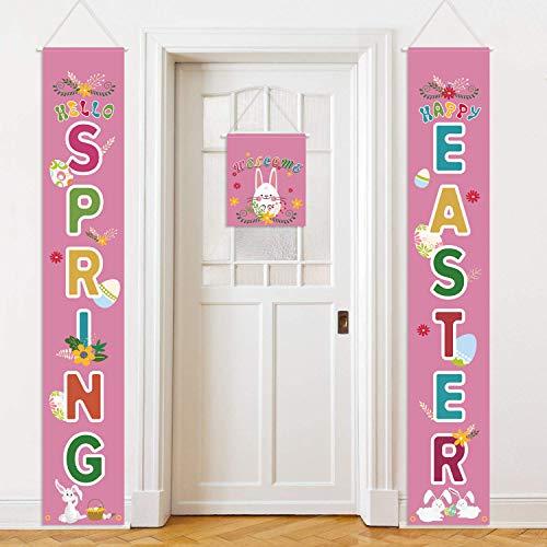 KEFAN Letrero para puerta de Pascua, 3 unidades, con texto en inglés «Welcome Happy Easter » para decoración interior y exterior en Pascua o primavera (juego B)
