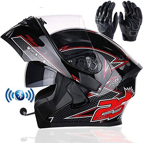Braveking Motorradhelm, Double Lens Flip Vollvisierhelm Mit Bluetooth-Headset, Unisex-Elektroauto-Schutzhelm, Zu Öffnende Und Zu Schließende Entlüftungsöffnungen, DOT-Zertifiziert,10,XL