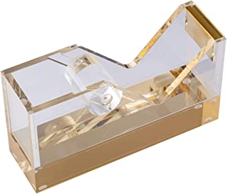 """E&O Acrylic Tape Dispenser,5.7""""×1.7""""×3.2"""",25mm Thickened Non Skid Base,One-Handed Tape Holder,Office and Home Use,Business Present Ideas (Bronzing Gold)"""