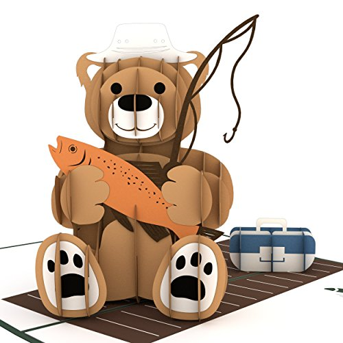 Lovepop Fishing Bear Pop Up Card - 3D Card, Father's Day Card, 3D Father's Day Card, Card for Dad, Card for Husband, Happy Father's Day Grandpa, Dad Pop Up Card
