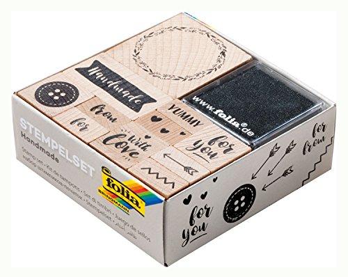 folia 31107 - Holzstempelset Handmade, inklusive 11 Holzstempel und 2 Stempelkissen - ideal zum Verzieren von Karten, Freundschaftsbüchern, für Lettering und Scrapbooking