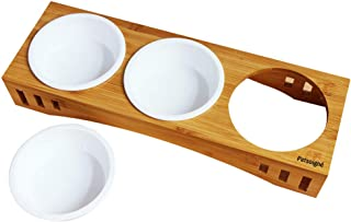 Petsoigné Basic Cat Bowls with Wooden Stand Pet Dining Table Cat Feeder with Raised Bamboo Stand for Cats and Puppy