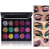 15 Colors Glitter Eyeshadow Makeup Palette -Small Sequins Shimmer Matte Eyeshadow Professional Makeup Natural Long Lasting Waterproof Eye Shadow (#2)