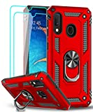 LeYi Samsung Galaxy A30 Case, Galaxy A20 Case with Tempered Glass Screen Protector [2 Pack] for Girls Women, Glitter Cute Bling Liquid Clear Protective Phone Case for Samsung A30/ A20 ZX (Red)