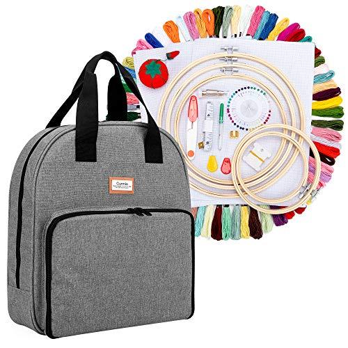 CURMIO Kit de inicio de bordado, kit de herramientas de punto de cruz con bolsa de almacenamiento, hilos de 100 colores, 5 aros de bordado, 3 paños Aida y otras herramientas de bordado, Gris
