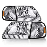 Headlight Assembly Compatible with 97-03 Ford F-150/04 Ford F-150 Heritage / 97-02 Ford Ex...