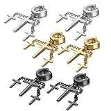 Pendientes Mujer Hombre Cruz Crucifijo 6 Pcs Acero Inoxidable Punk Aretes Aro de Oído Joyas, Oro Plata Negro