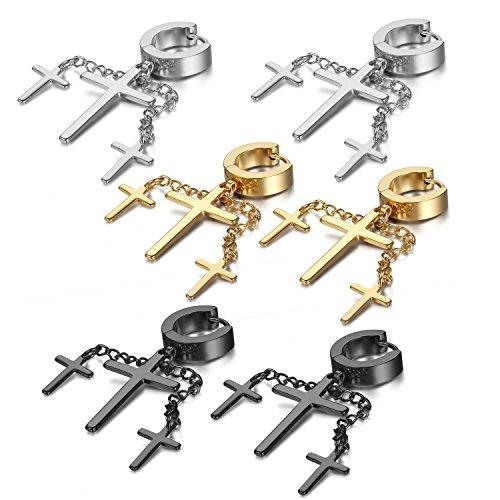 OIDEA Orecchini per Uomo Donna Orecchini in Acciaio Inox Orecchini Pendenti Croce Argento Oro Nero(3 Coppie)
