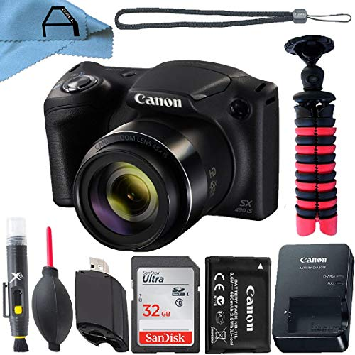Canon PowerShot SX430 is 20MP Digital Camera 45x Optical Zoom with SanDisk 32GB Memory Card, Tripod and A-Cell Accessory Bundle (Black)