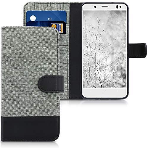 kwmobile Hülle kompatibel mit bq Aquaris VS - Kunstleder Wallet Hülle mit Kartenfächern Stand in Grau Schwarz