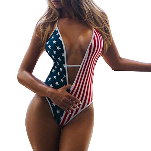 DZTZ American Independence Day Women's Bikini Sexy V Neck High Waisted One Piece Swimsuits Backless Thong (S, Red)