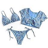 ZAFUL - Set bikini imbottito, con stampa in pizzo, triangolare, coppa bassa Fiori blu S
