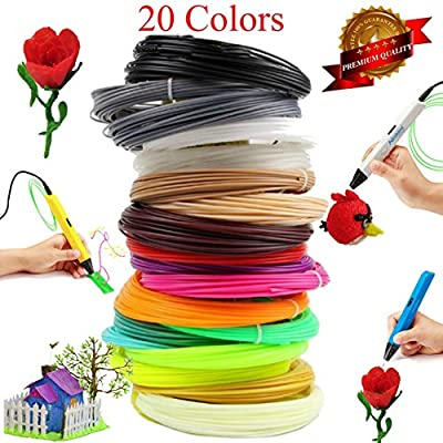 3D PEN FILAMENT REFILLS - ABS 1.75mm Filament *480 Linear Feet* PACK of TWO x 12 Different Colors, Glow In The Dark Color