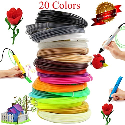 3D Printing Pen Filament Refills - 1.75mm ABS Plastic 656 Linear Feet Pack of 20 Different Colors 32 feet Each, Included 2 Glow in The Dark. Each Color in a Separate Vacuum Sealed Pack for Easy use