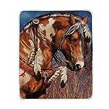 Spirit Indian War Horse Blanket Lightweight Super Soft Cozy Bed Blanket Throw Size 50' x 60'