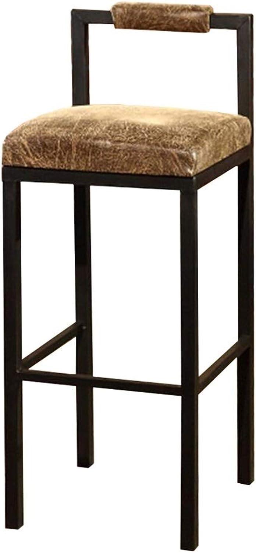 BARSTOOLRI High Chair Iron Art Frame Brown Seat Ergonomics Loft Nordic Style Kitchen Non-Slip Bar Stool for Office Living Room (Size   45cm)
