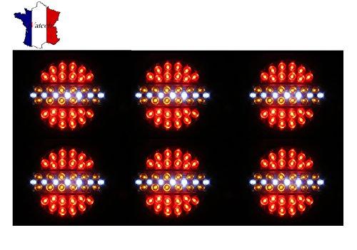 IVATECH 06D1368LS24 1 6 X 24V Led 4 Fonctions Feu Arrière Feu Stop Feu Clignotant Feu Marche Arrière Gabarit Camion Remorque Camper Caravane Van Bus Fourgon Tracteur Orange