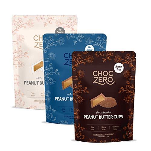 ChocZero#039s Dark Milk White Chocolate Peanut Butter Cups  NO ADDED SUGAR KETO FRIENDLY 3bags