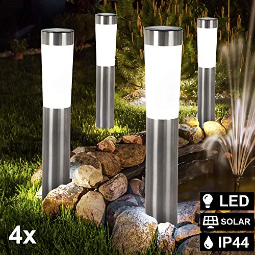 4er Set LED Solar Leuchten Steck Stand Beleuchtungen Außen Strahler Säulen Lampen