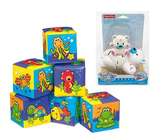 Playgro Stapel Spielwürfel Bade Spielwürfel + Fisher Price Plantschi Eisbär