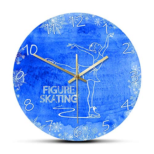 Wjlytf Eiskunstlauf Gedruckte Wanduhr Lady Skater Nicht tickende runde Uhr Sportuhr Modernes Design Wohnkultur 12 inch