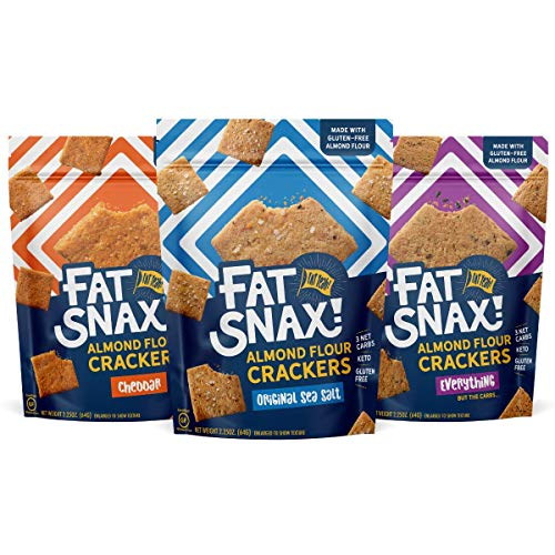 Fat Snax Almond Flour Crackers - Low-Carb and Gluten-Free Keto Crackers with 11g of Fats - 2-3 Net Carb* Keto Snacks - (Variety Pack, 8-Pack)
