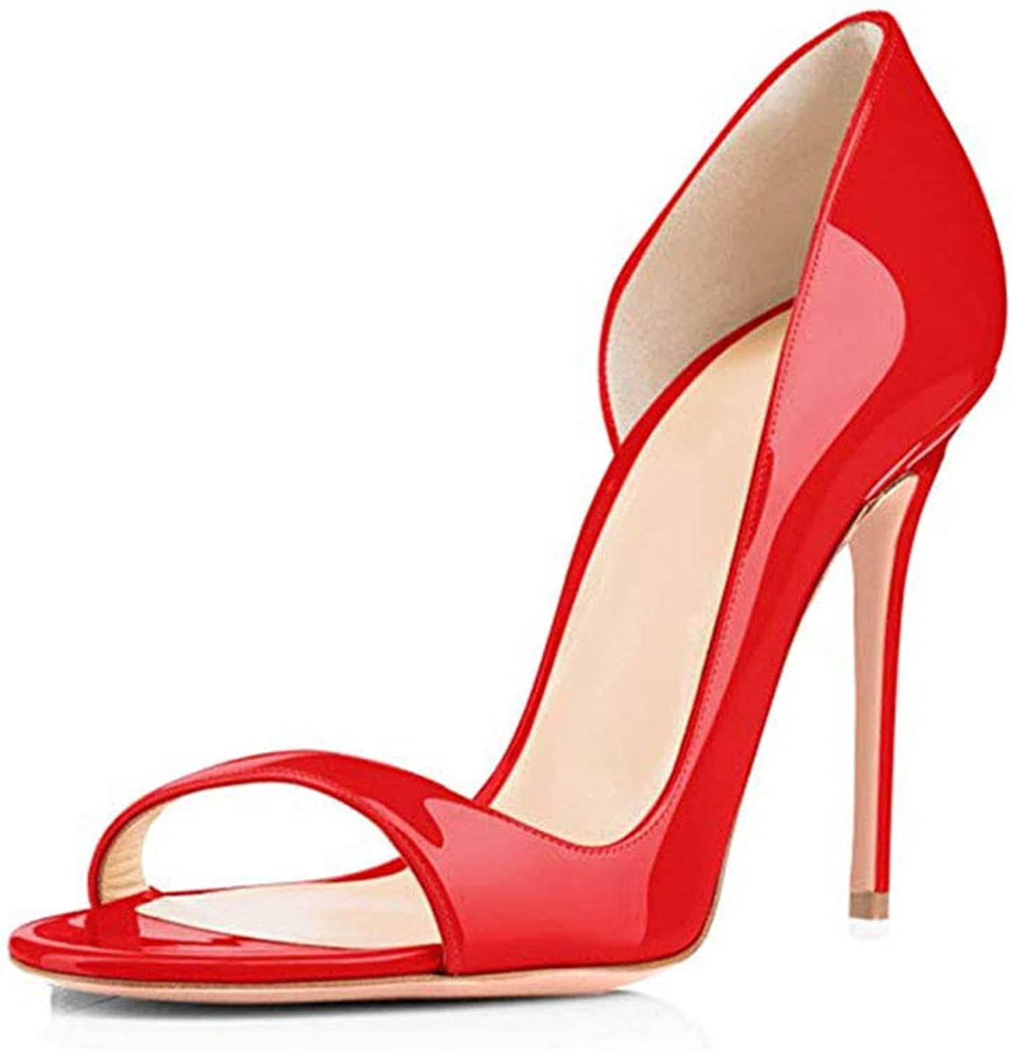 Women's high Heels, 2019 European and American Style Open Toe Lacquered high Heel Elegant Sexy Solid color Ladies Sandals,a,36