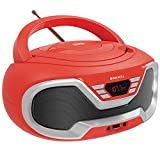 Oakcastle CD200 – Poste Radio CD Portable avec Bluetooth, Prise 3,5 mm et Port USB, Alimentation Secteur/Piles, Haut-parleurs intégrés, pour Adultes et Lecteur CD Enfant (Rouge)