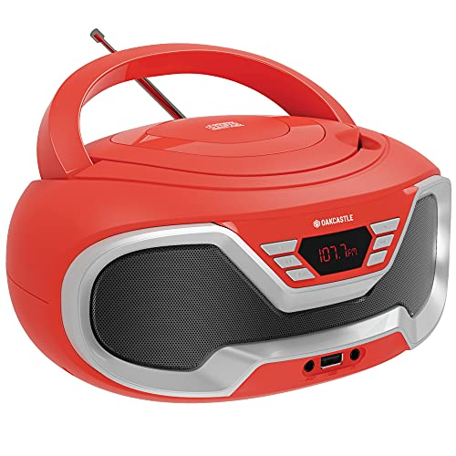 Oakcastle CD200 Tragbarer CD-Player mit Bluetooth & FM-Radio, 3,5-mm-AUX-Kopfhöreranschluss und USB-Eingang, für Erwachsene und Kinder mit Stereolautsprechern (rot)