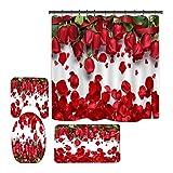 Hankyky Valentines Cortina de ducha romántica rosa roja flores Sweet Heart Love Set de cortinas de ducha con alfombra antideslizante tapa de inodoro y 12 ganchos