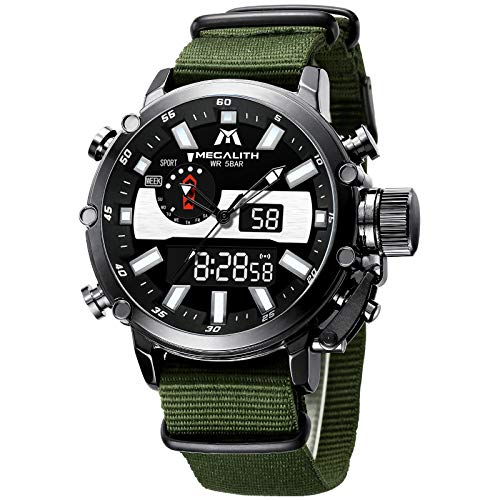 xiaoxioaguo Reloj digital para hombre, deportivo, militar, analógico, cuarzo, multifunción, pantalla doble, con alarma, cronómetro