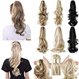 Ponytail Extension Long Curly Clip in Claw Hair Extension for Women 16 18 inch Natural Synthetic Hairpiece